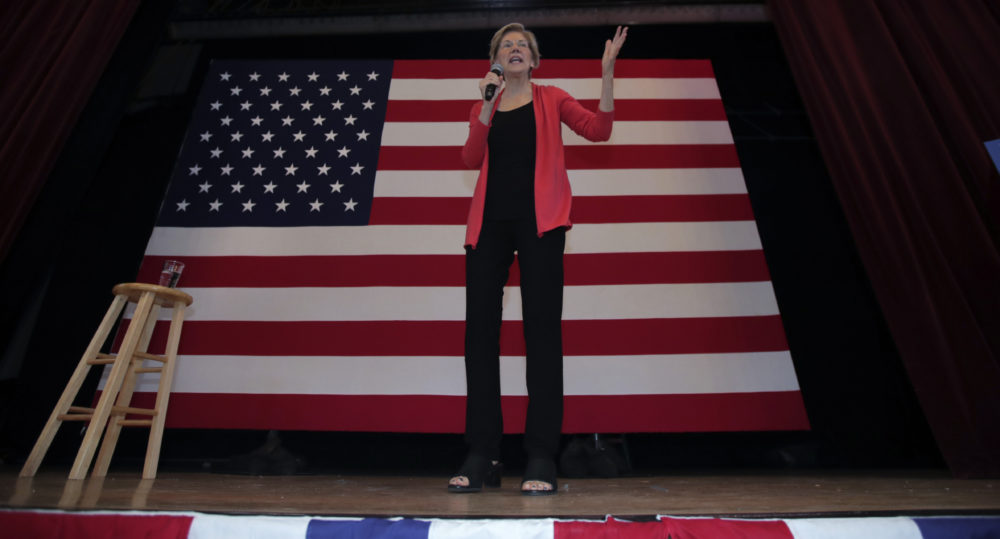 Democratic presidential candidate and Massachusetts Sen. Elizabeth Warren speaks during a campaign stop at town hall in Peterborough, N.H., on Monday. (Charles Krupa/AP)