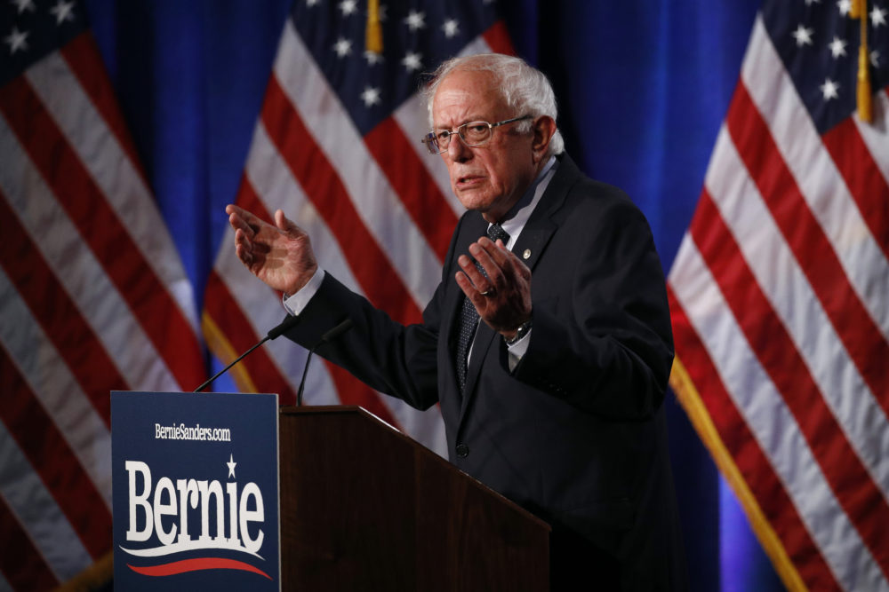 "Democratic presidential candidate, Sen. Bernie Sanders, I-Vt., gives a speech on his ""Medicare for All"" proposal, Wednesday, July 17, 2019, in Washington. (Patrick Semansky/AP)"