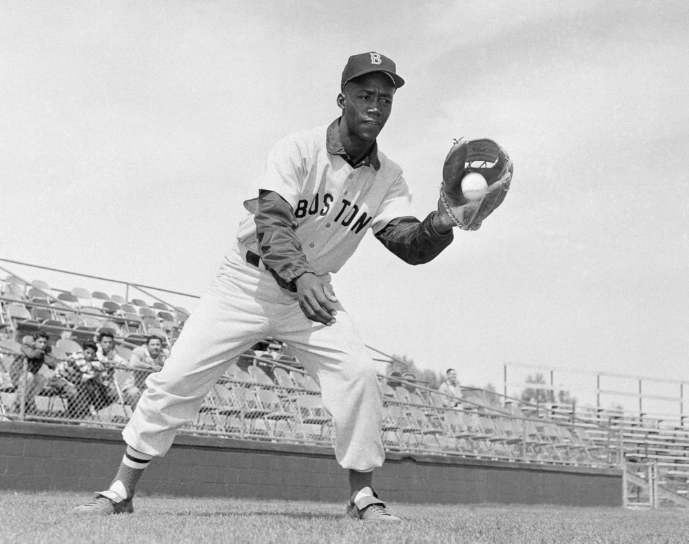 "In this April 1959 file photo, Boston Red Sox's Elijah ""Pumpsie"" Green poses for a photo, location not known. Green, the first black player on the Red Sox, has died. He was 85. (Harold Filan, AP File Photo)"