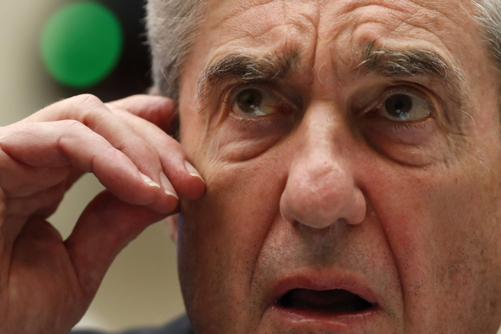 Former special counsel Robert Mueller testifies before the House Intelligence Committee on Wednesday, July 24, 2019, in Washington. (Alex Brandon/AP)