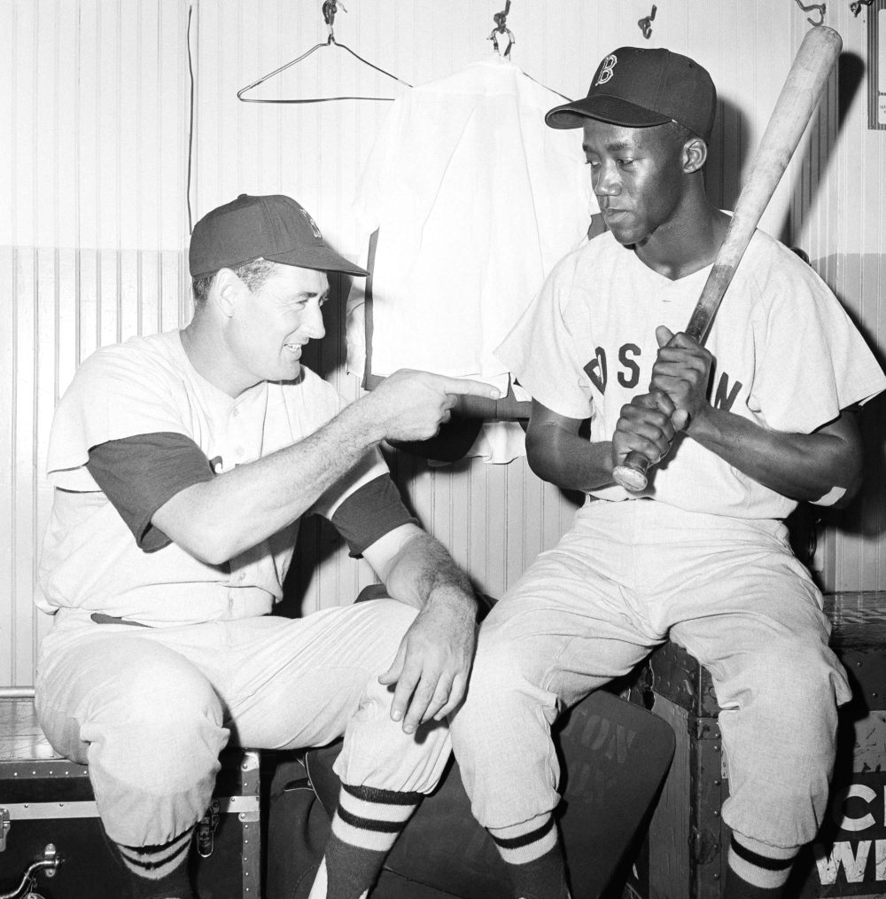 "Elijah ""Pumpsie"" Green, right, and Ted Williams, in Chicago, Ill on July 21, 1959, the day Green became the first African American ever to play for the Red Sox. (Ed Maloney/AP)"