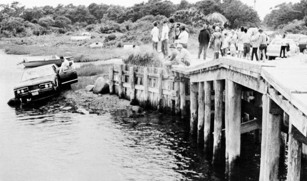 On July 19, 1969, Sen. Edward Kennedy's car is pulled from water by a bridge in Edgartown, Mass. The body of Mary Kopechne of Washington, D.C., was found in the rear seat. Her death was attributed to drowning. (AP)