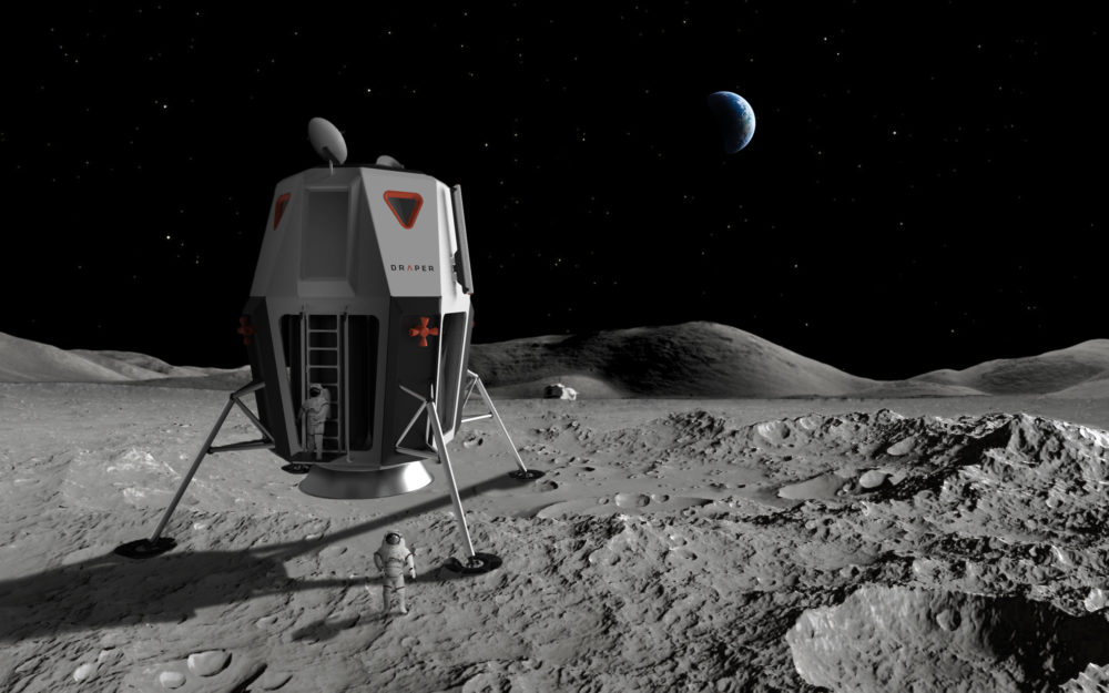 Draper, a nonprofit engineering firm headquartered in Cambridge, is participating in NASA's mission to advance human lunar landers. Pictured is an artist's illustration of the lunar lander Artemis, a crewed lander concept developed by Draper. (Courtesy of Draper)