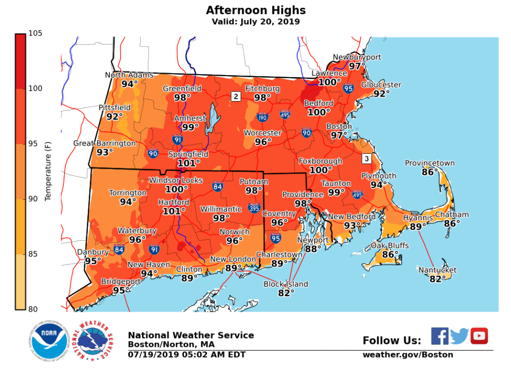 The afternoon high temperatures for Saturday (Courtesy of the National Weather Service)