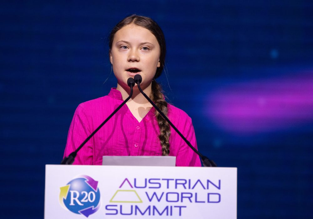 Swedish climate activist Greta Thunberg gives a speech during the opening ceremony of the R20 Regions of Climate Action Austrian World Summit in Vienna, Austria, on May 28, 2019. (Georg Hochmuth/AFP/Getty Images)