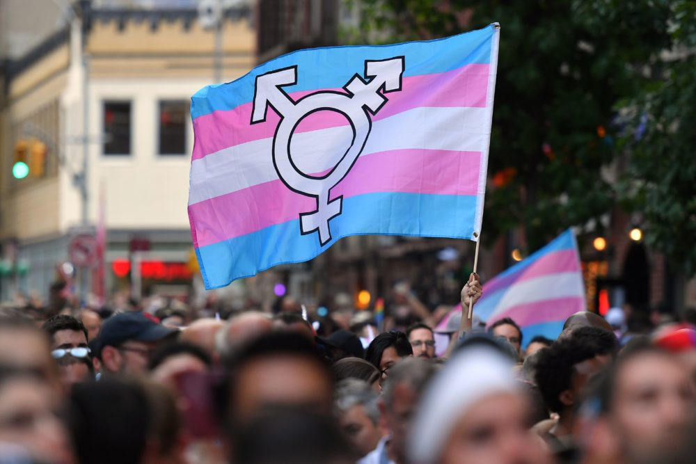 A transgender pride flag waves as people gather for a rally to mark the 50th anniversary of the Stonewall riots. (Angela Weiss/AFP/Getty Images)