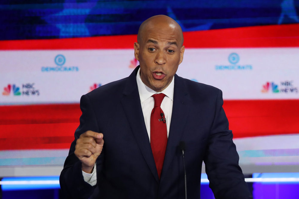 Sen. Cory Booker, D-N.J., speaks during the first night of the Democratic presidential debate on June 26, 2019 in Miami, Fla. (Joe Raedle/Getty Images)