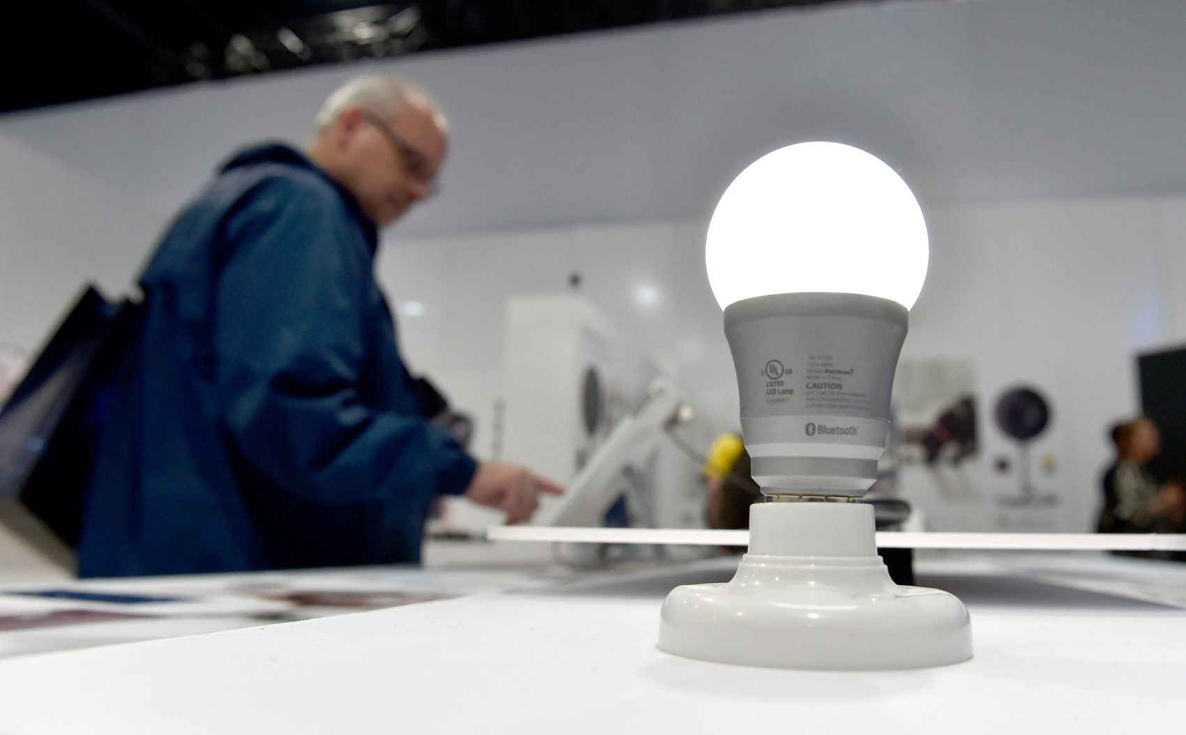 A Rainbow7 Bluetooth smart-enabled lightbulb is illuminated at CES 2016 at the Las Vegas Convention Center on January 6, 2016 in Las Vegas. (David Becker/Getty Images)