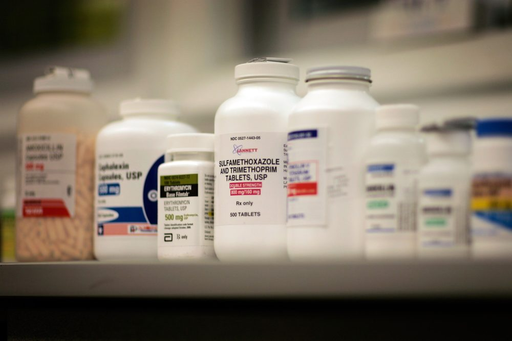 Bottles of antibiotics line a shelf at a Publix supermarket pharmacy August 7, 2007 in Miami, Florida. (Joe Raedle/Getty Images)