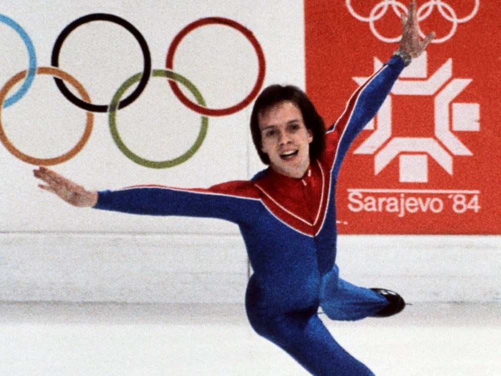 Scott Hamilton performs during the 1984 Winter Olympics. (AFP/Getty Images)