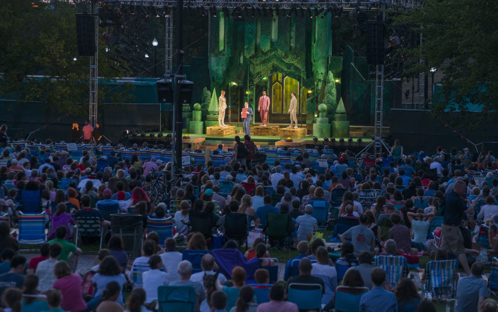 "Commonwealth Shakespeare Company's production of ""Love's Labour's Lost"" on the Boston Common in 2016. (Courtesy Andrew Brilliant)"