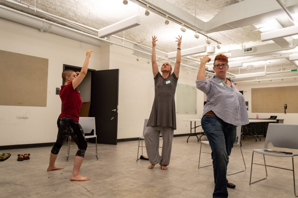 Angela DeCarlis, Gina Terzino and Thia Griffin-Elliott practice posing during a Figure on Diversity workshop. (Courtesy Mel Isidor)