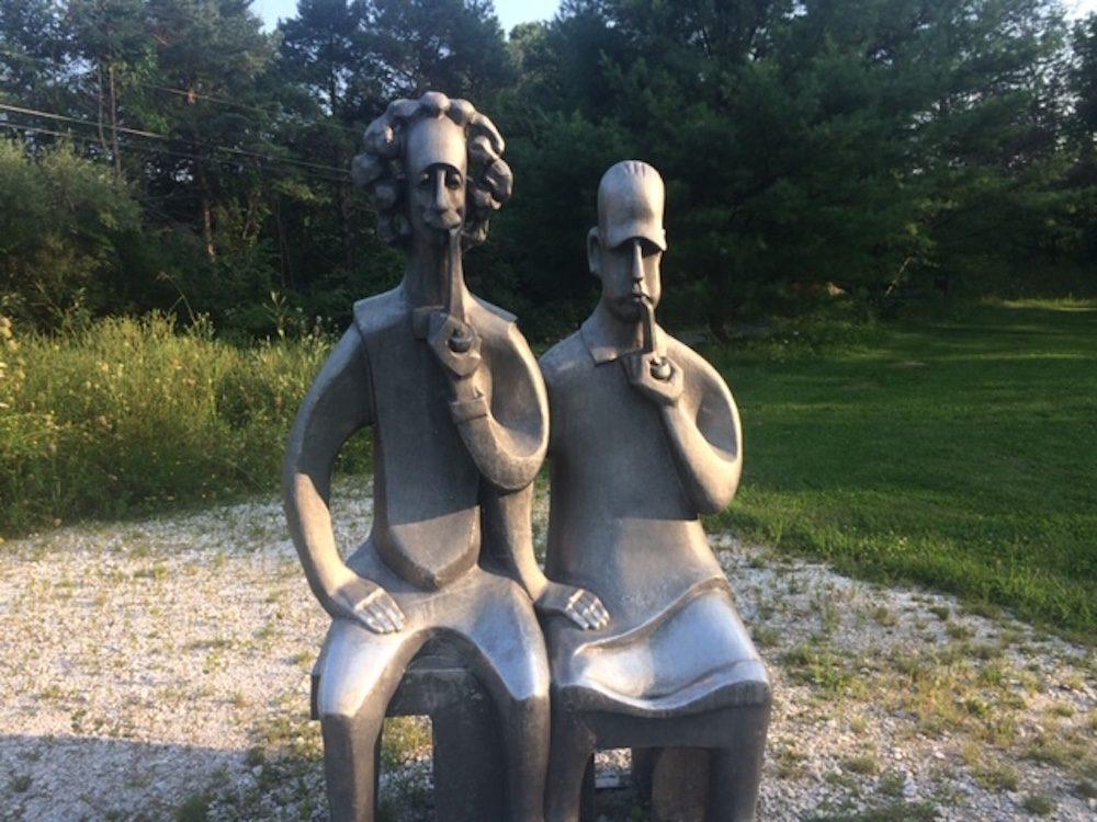 """Vladimir Lemport's """"Bohr and Einstein"""" at Turn Park Art Space in West Stockbridge. (Ed Siegel for WBUR)"""
