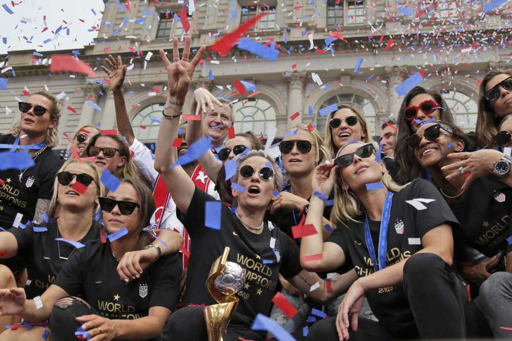The U.S. women's soccer team celebrates at City Hall after a ticker tape parade, Wednesday, July 10, 2019 in New York. The U.S. national team beat the Netherlands 2-0 to capture a record fourth Women's World Cup title. (Seth Wenig/AP)