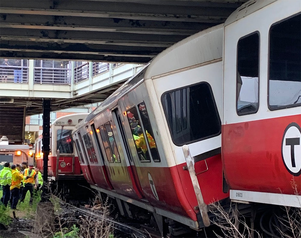 An MBTA Red Line train derailed just outside of JFK/UMass Station in June. (Courtesy Boston Fire Department)