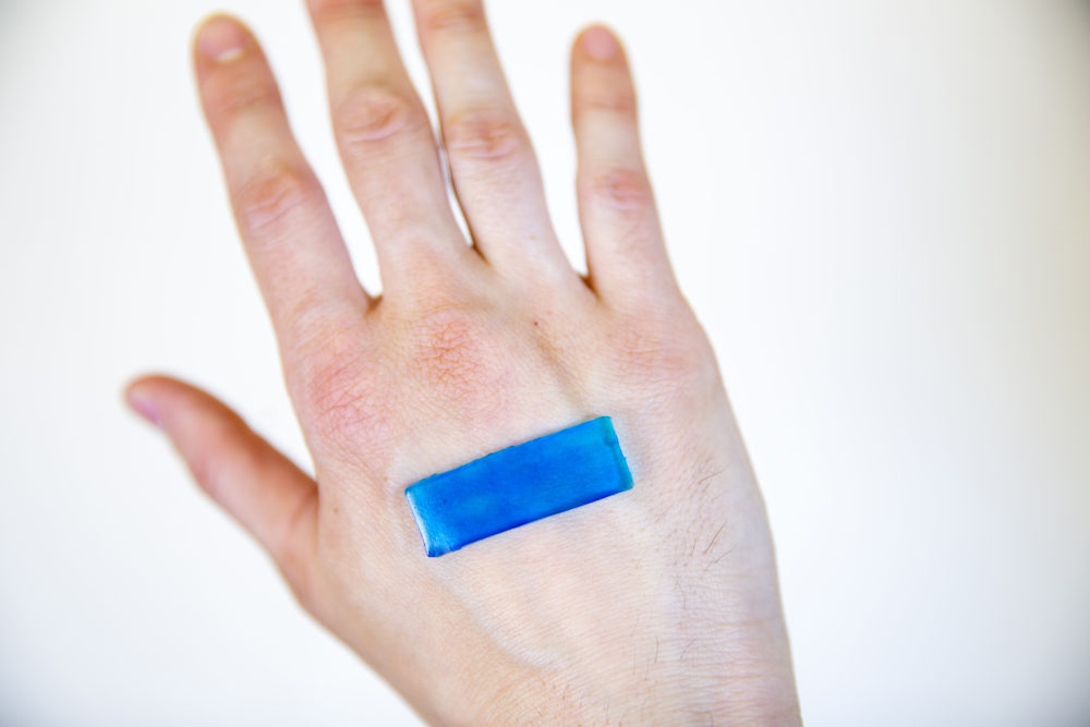 A hydrogel strip designed by researchers at Harvard to stick to the skin, stop bleeding and speed wound recovery (Courtesy of the Wyss Institute at Harvard University)
