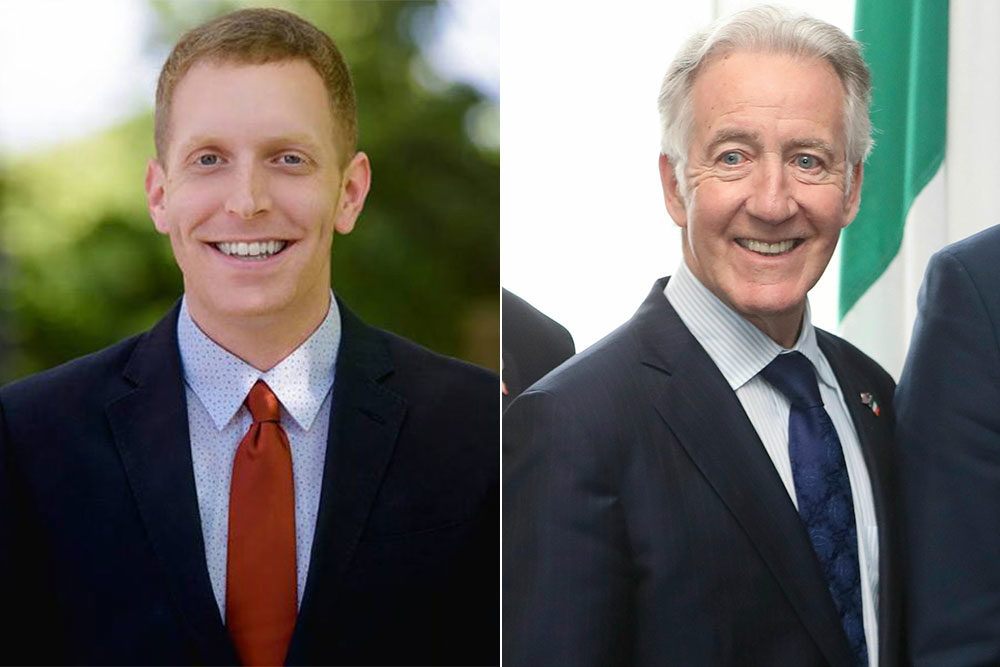 Holyoke Mayor Alex Morse, left, will challenge Rep. Richard Neal in the Democratic primary. (Courtesy Alex Morse for Congress; Niall Carson/PA via AP)