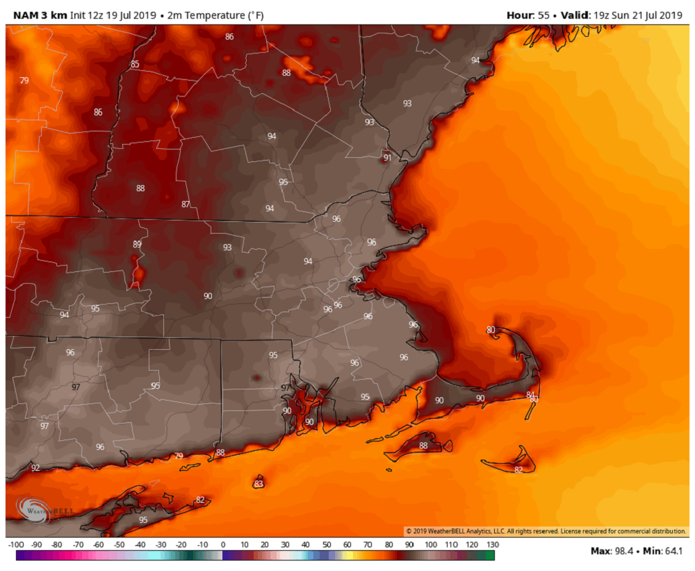 Highs Sunday will be between 95 and 100 and will feel as hot as 108 with the humidity. (Courtesy WeatherBell)