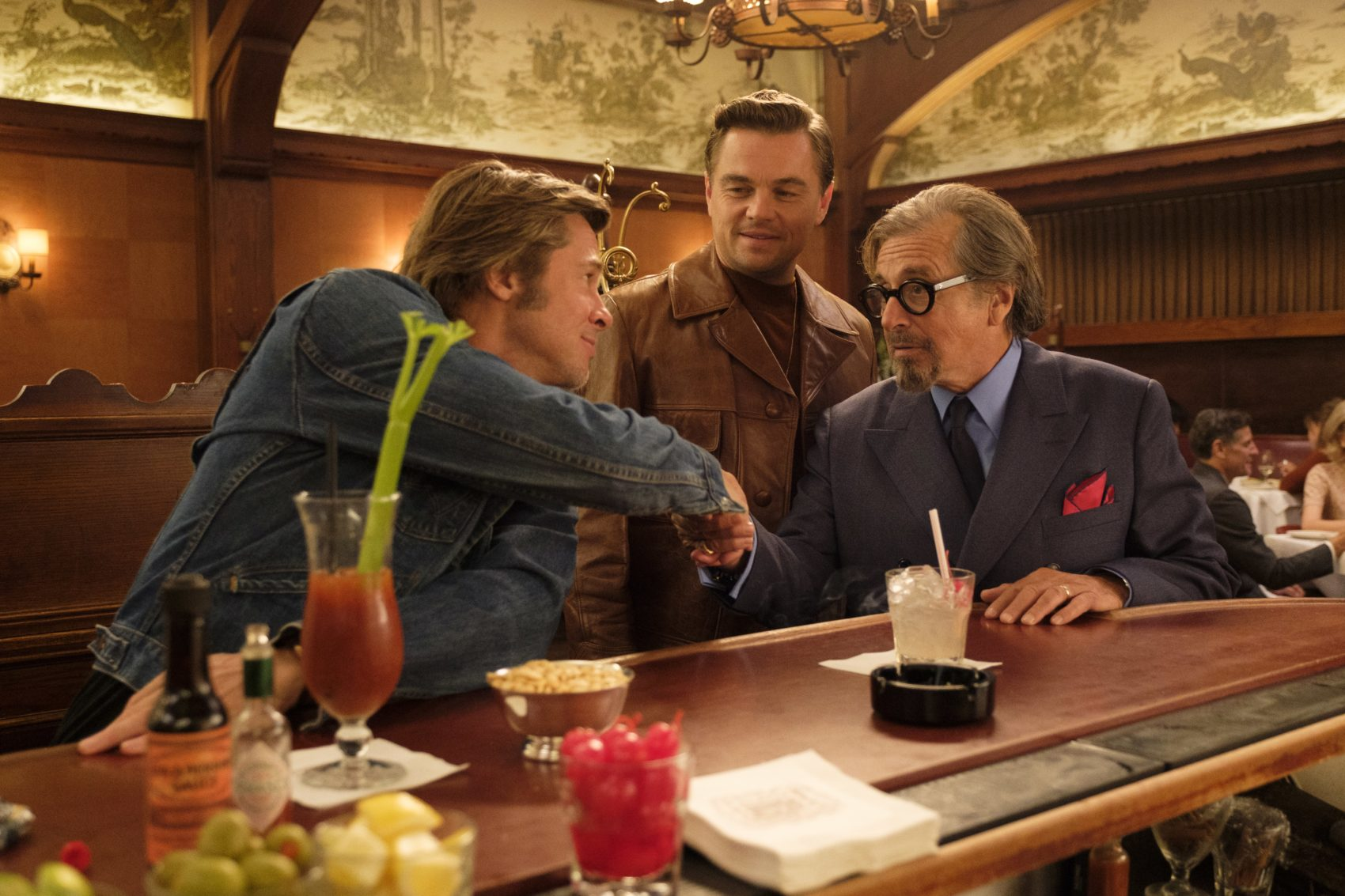 "Leonardo DiCaprio as Rick Dalton, Brad Pitt as Cliff Booth and Al Pacino as Marvin Schwarzs in ""Once Upon a Time in Hollywood."" (Courtesy Sony Pictures)"