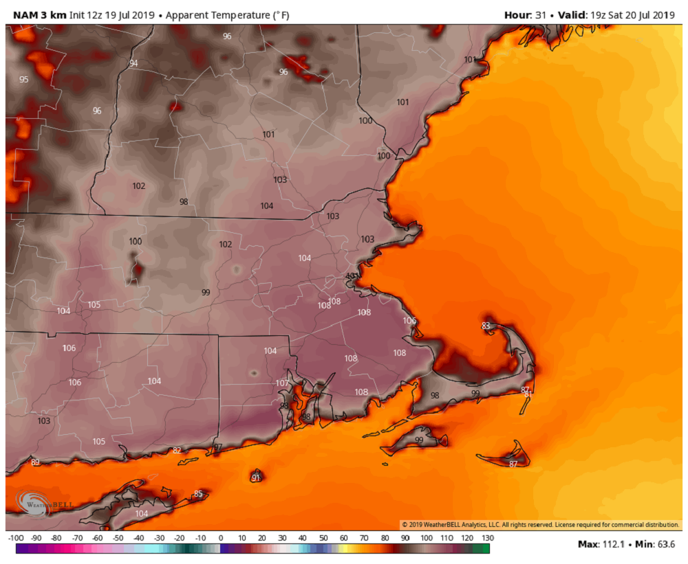 When you combine the heat and humidity this weekend it will feel over 100 degrees in many areas. (Courtesy WeatherBell)