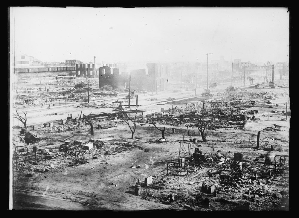 Ruins after the race massacre in Tulsa, Okla. (Photo courtesy of the Library of Congress, Prints & Photographs Division, American National Red Cross Collection)