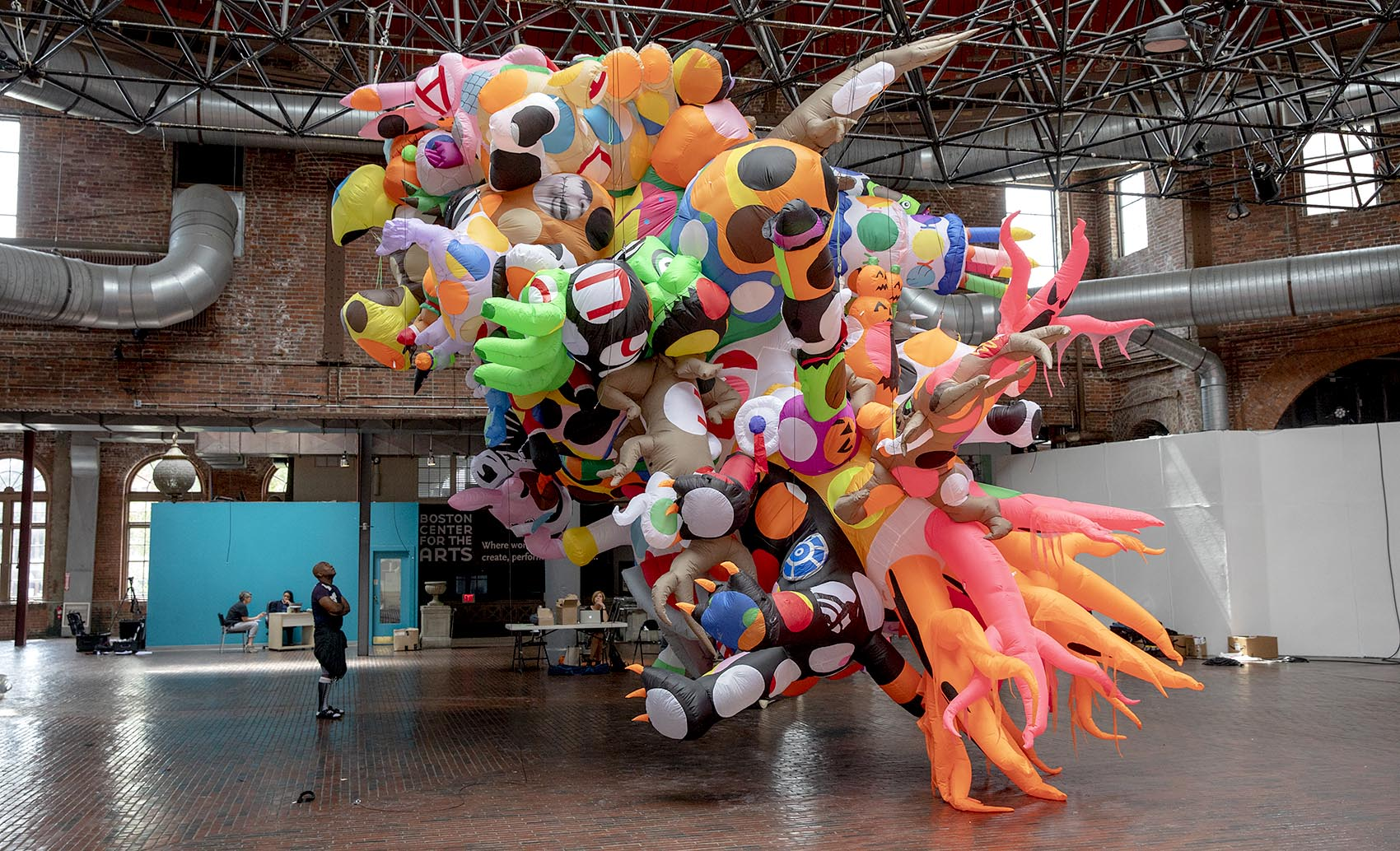 "Artist Nick Cave's inflatable sculpture for his ""Augment"" project in Boston is on display at the Boston Center for The Arts (Robin Lubbock/WBUR)"