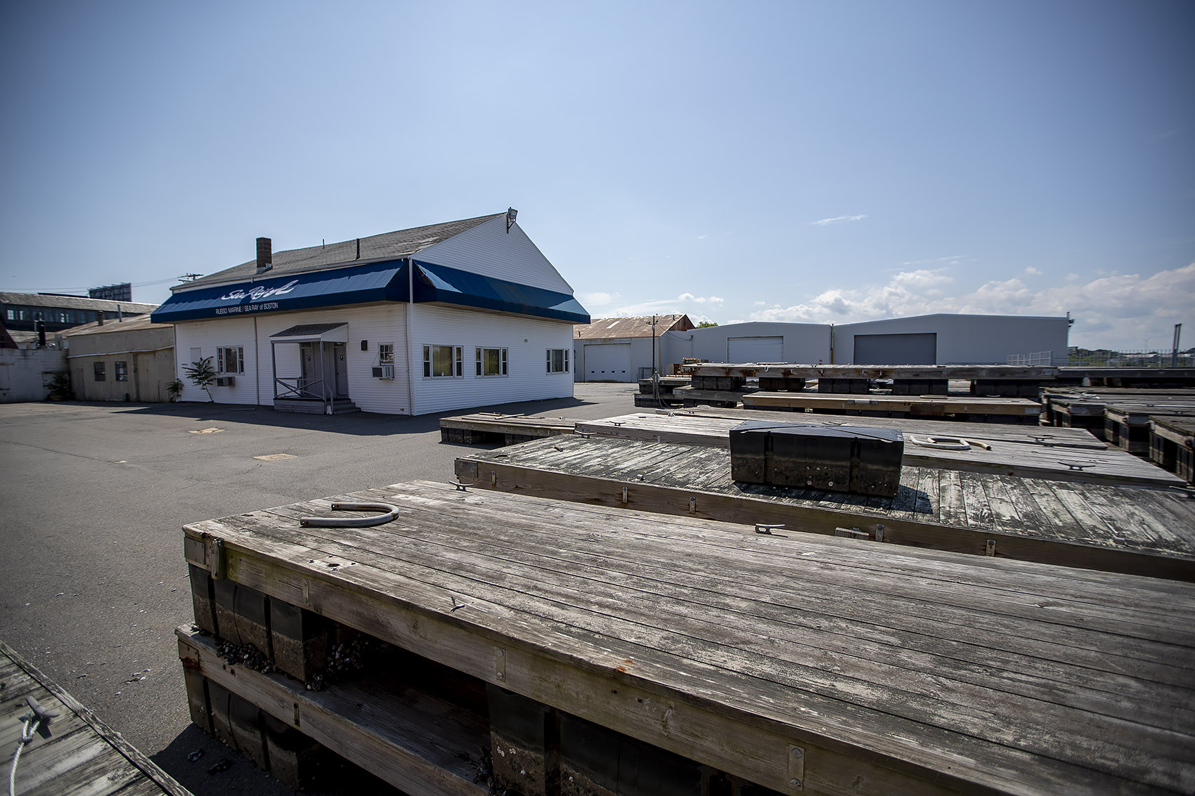 The Port Norfolk waterfront property where the Neponset Wharf project has been proposed (Jesse Costa/WBUR)