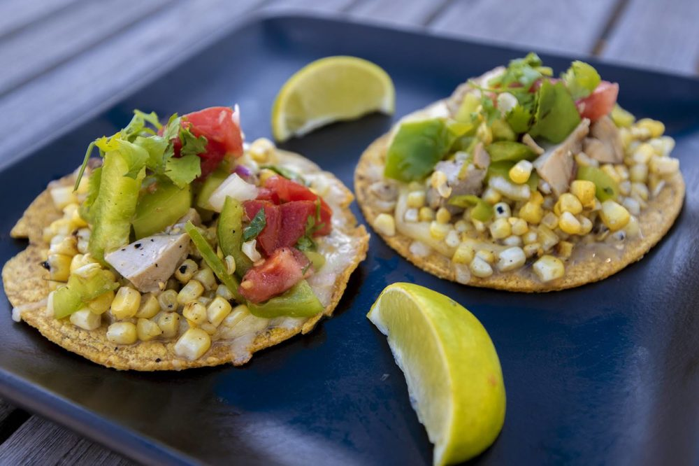 Grilled corn and chicken tacos on corn tortillas (Jesse Costa/WBUR)
