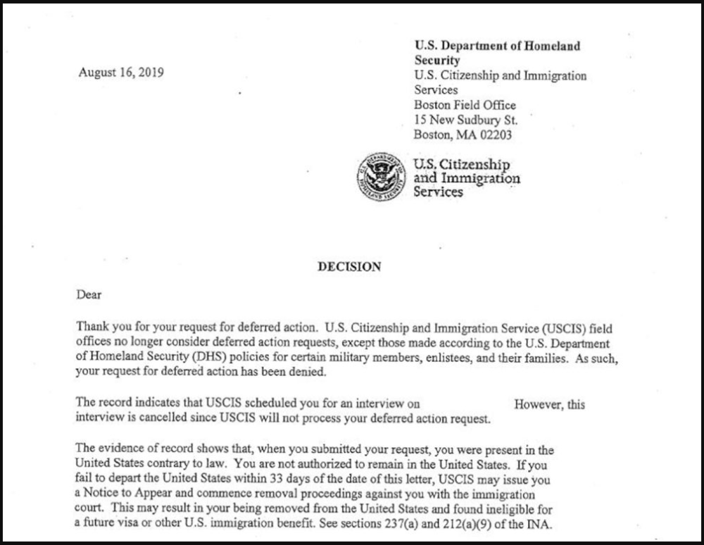 An apparent form letter response obtained by WBUR addressed to a person -- whose name has been redacted by legal counsel -- seeking a medical deferral for removal from the U.S. (Courtesy IIIC)