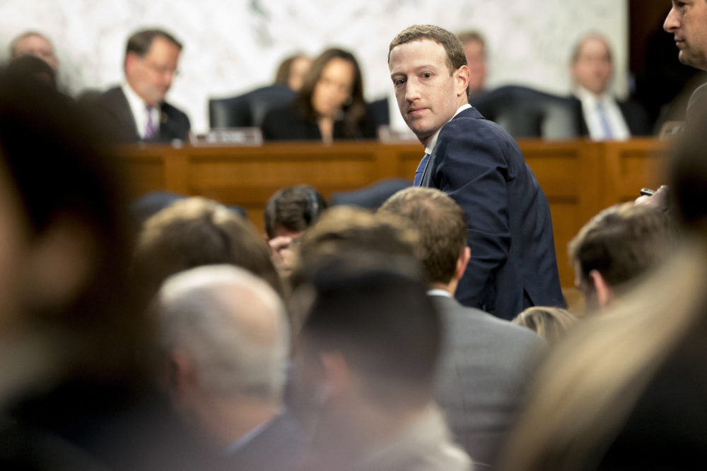 Facebook CEO Mark Zuckerberg testifies before a joint hearing of the Commerce and Judiciary Committees on Capitol Hill in Washington, Tuesday, April 10, 2018. (Andrew Harnik/AP)