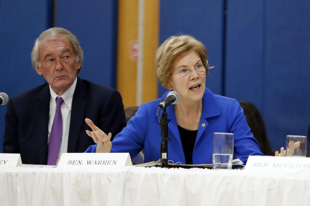 Sen. Elizabeth Warrena and Sen. Ed Markey during a  Nov. 26, 2018 hearing in Lawrence, Mass. (Winslow Townson/AP)