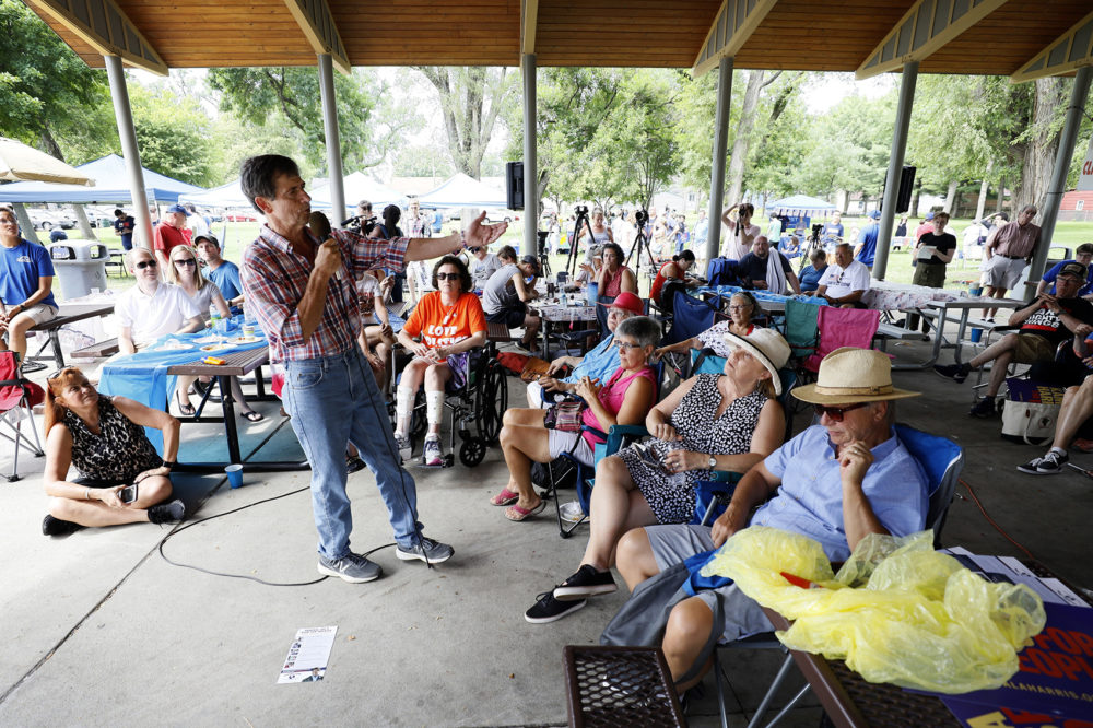 Democratic presidential candidate Joe Sestak speaks during the West Des Moines Democrats' annual picnic, Wednesday, July 3, 2019, in West Des Moines, Iowa. (Charlie Neibergall/AP)
