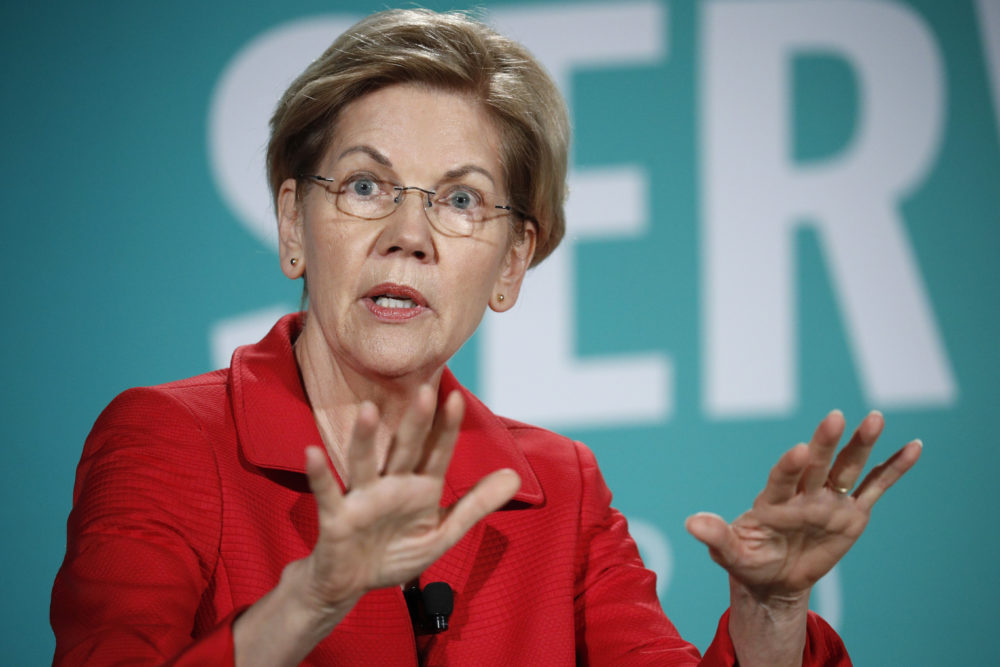 Democratic presidential candidate Sen. Elizabeth Warren, D-Mass., speaks during a candidate forum on labor issues Aug. 3 in Las Vegas. (John Locher/AP)