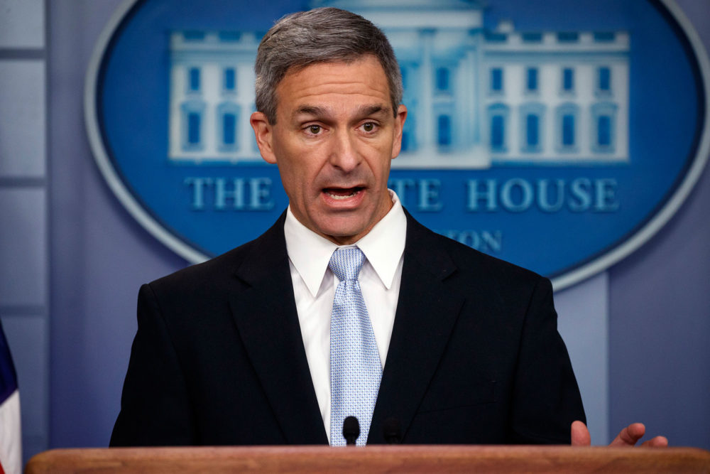 Acting Director of United States Citizenship and Immigration Services Ken Cuccinelli speaks during a briefing at the White House Monday. (Evan Vucci/AP)
