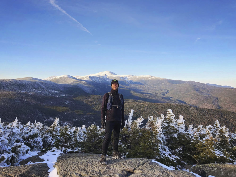 This photo taken by Philip Carcia shows Carcia atop Mount Jackson as he completed his ninth consecutive month of hiking each of New Hampshire's mountains taller than 4,000 feet. On July 7, Carcia became only the second hiker to cram the grid into a single year. (Philip Carcia via AP)