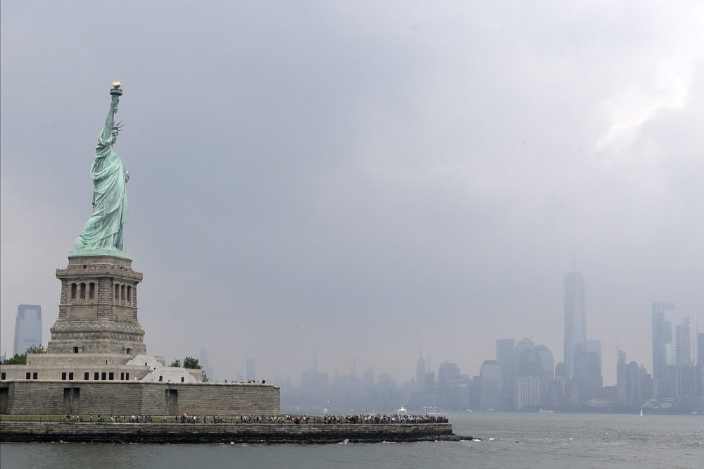 This photo shows the Statue of Liberty on a stormy afternoon in New York on Wednesday, Aug. 14, 2019.  (Kathy Willens/AP)