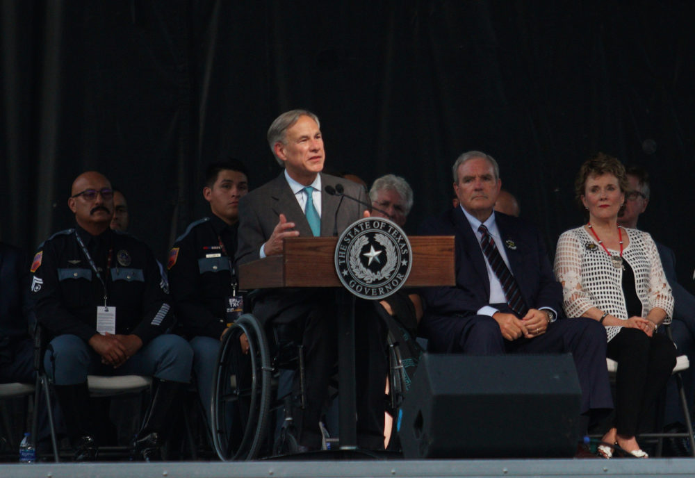 Gov. Greg Abbott speaks during a memorial service for the victims of the Aug. 3 mass shooting, Wednesday, Aug. 14, 2019, at Southwest University Park, in El Paso, Texas. (Jorge Salgado/AP)