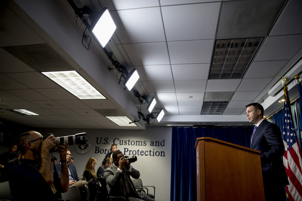 Acting Homeland Security Secretary Kevin McAleenan speaks about upcoming changes to the Flores ruling at a news conference at the Reagan Building in Washington, Wednesday, Aug. 21, 2019. (Andrew Harnik/AP)