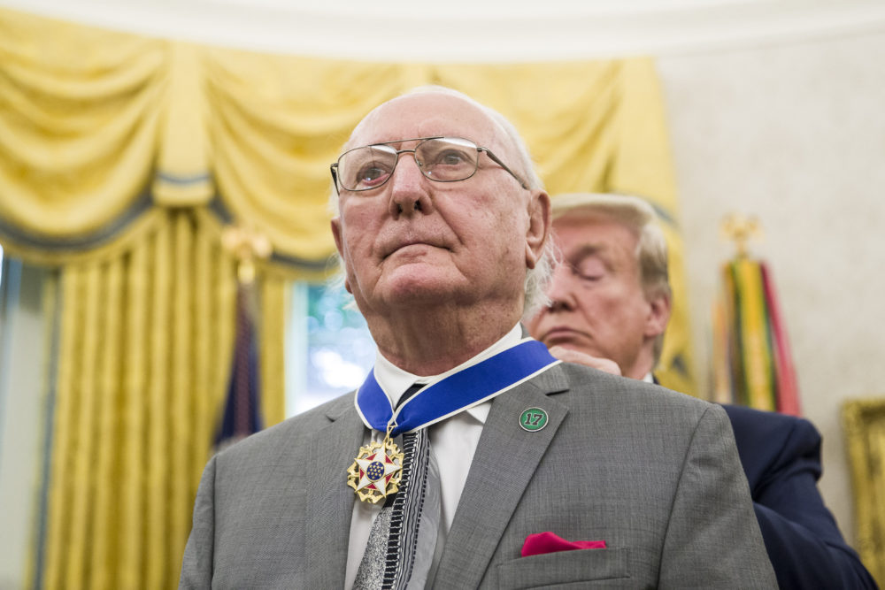 President Trump presents the Presidential Medal of Freedom to former NBA basketball player and coach Bob Cousy, of the Boston Celtics, during a ceremony in the Oval Office Thursday. (Alex Brandon/AP)