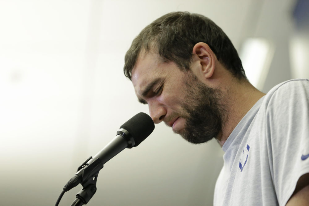Indianapolis Colts quarterback Andrew Luck speaks during a news conference following the team's NFL preseason game against the Chicago Bears Saturday in Indianapolis. The oft-injured star is retiring at age 29. (AJ Mast/AP)