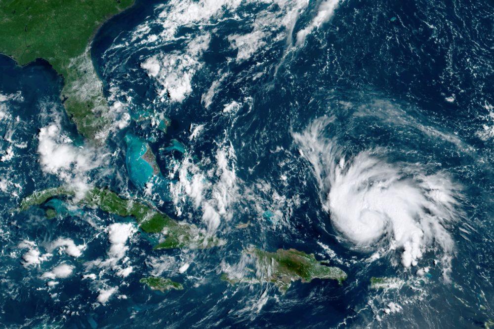 This satellite image, taken Thursday, Aug. 29, 2019, shows Hurricane Dorian moving over open waters of the Atlantic Ocean. (NOAA via AP)