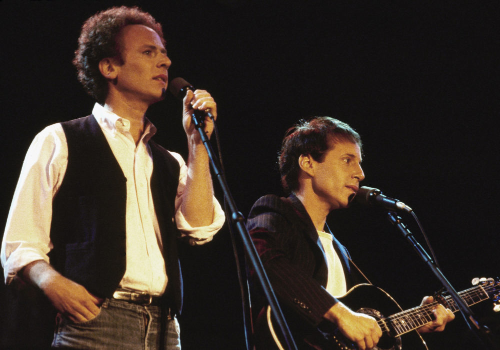 Art Garfunkel, left, and Paul Simon serenade an audience estimated close to one-half million in New York's Central Park at a free concert Sept. 19, 1981. (Nancy Kaye/AP)