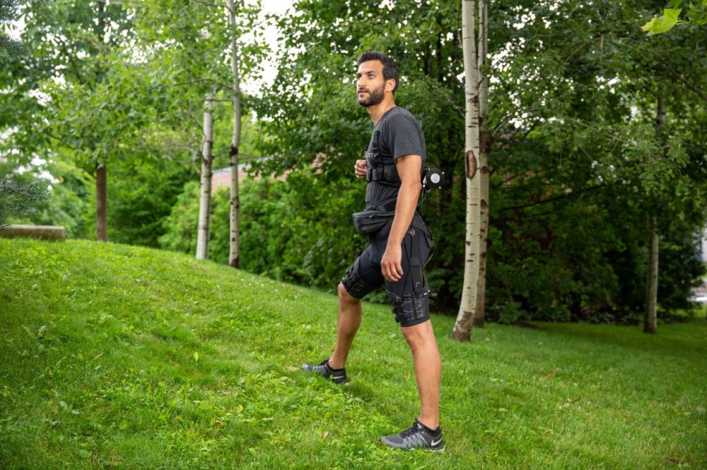 "The ""exosuit"" weighs 11 pounds and can assist both walking and running motions. (Courtesy Wyss Institute at Harvard University)"