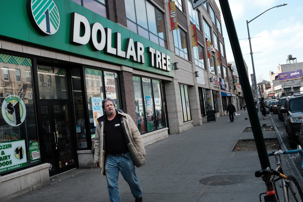 People walk by a Dollar Tree store on Dec. 11, 2018 in the Brooklyn borough of New York City. (Spencer Platt/Getty Images)