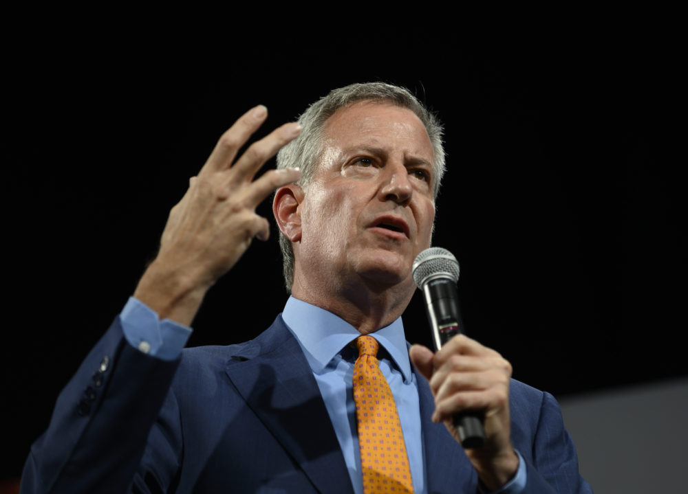 Democratic presidential candidate and New York City Mayor Bill de Blasio speaks during a forum on gun safety at the Iowa Events Center on August 10, 2019 in Des Moines, Iowa. (Stephen Maturen/Getty Images)