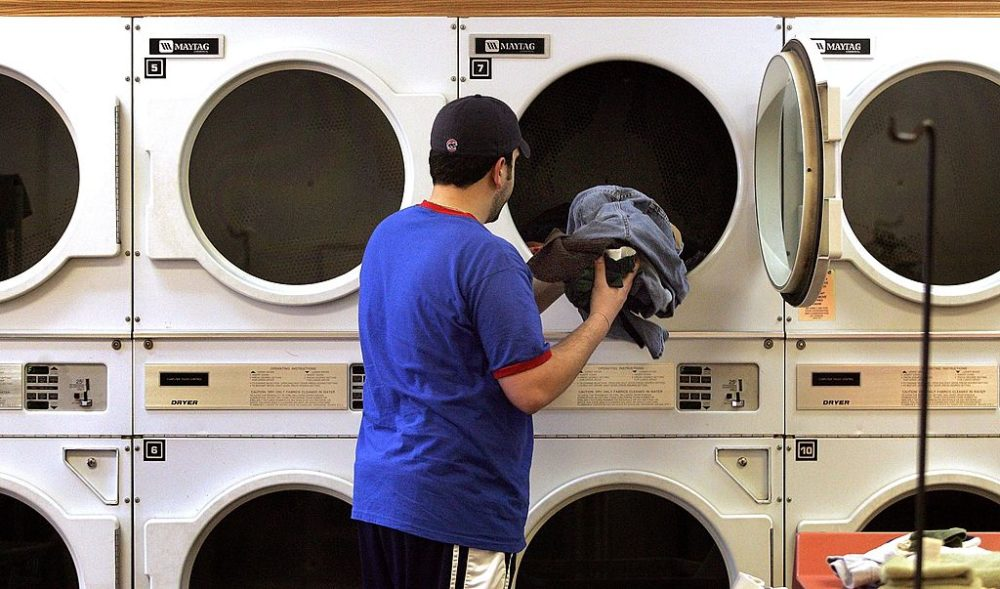 A man at a Maytag laundromat in Mount Prospect, Illinois. (Tim Boyle/Getty Images)