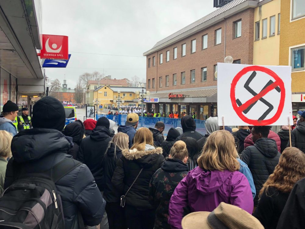 Protesters gather in Ludvika, Sweden in May 2018 to voice their opposition to the Nordic Resistance Movement, a neo-Nazi political group. (Courtesy)
