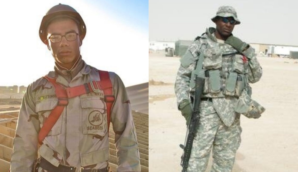 Fidel GomezTorres (left) in Afghanistan and Isiah James in Iraq. (Photos courtesy of Fidel GomezTorres and Isiah James)