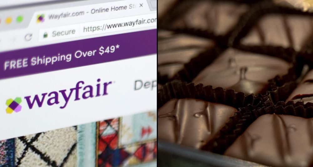 Home goods that cost $2,500 or less, whether bought in-store or online from a vendor like Boston-based Wayfair, are tax-free during the holiday. Cannabis products, such as the CBD truffles sold by Heavenly Chocolate in Northampton, remain subject to the normal, 6.25% levy. (Wayfair photo by Jenny Kane/AP; Truffle photo by Robin Lubbock/WBUR)