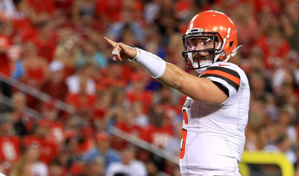 Baker Mayfield of the Cleveland Browns calls a play during a preseason game against the Tampa Bay Buccaneers. (Mike Ehrmann/Getty Images)